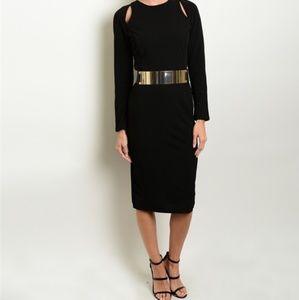 Dresses - 🆕️Black Long Sleeve BOLD GoldTone Attached